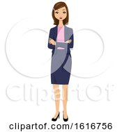 Brunette White Business Woman Standing With Folded Arms by peachidesigns