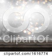Poster, Art Print Of 3d Wooden Table Looking Out To A Defocussed Christmas Background