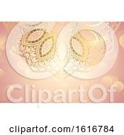 Poster, Art Print Of Pink And Gold Mandala Background Or Business Card Design