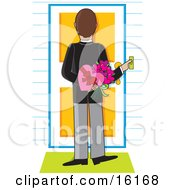 Thoughtful And Romantic Man Pushing A Doorbell And Holding Flowers And Valentines Day Chocolates Behind His Back While Waiting For His Lovely Woman To Answer The Door Clipart Illustration Image by Maria Bell