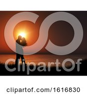 Poster, Art Print Of 3d Silhouette Of A Couple Kissing Against A Sunset Ocean Landscape
