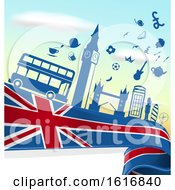 Clipart Of A London Flag And Tourism Silhouettes Background Royalty Free Vector Illustration
