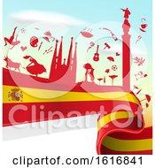 Clipart Of A Spanish Flag And Tourism Silhouettes Background Royalty Free Vector Illustration