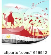Clipart Of An Egyptian Flag And Tourism Silhouettes Background Royalty Free Vector Illustration
