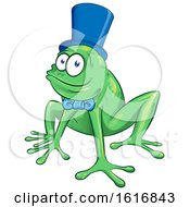 Clipart Of A Cartoon Frog Wearing A Bow And Top Hat Royalty Free Vector Illustration by Domenico Condello