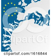 Clipart Of Silhouetted Immigrants With A European Map And Stars Royalty Free Vector Illustration
