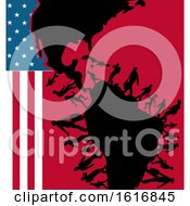 Clipart Of Silhouetted Immigrants With An American Flag And Map Royalty Free Vector Illustration
