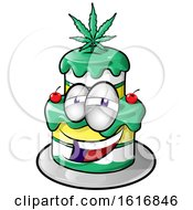 Clipart Of A Cannabis Cake Character Royalty Free Vector Illustration by Domenico Condello