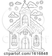 Clipart Of A Black And White Winter Church Royalty Free Vector Illustration