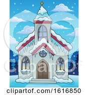 Clipart Of A Winter Church Royalty Free Vector Illustration