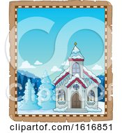 Clipart Of A Winter Church Border Royalty Free Vector Illustration