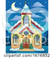 Clipart Of A Christmas Church At Night Royalty Free Vector Illustration
