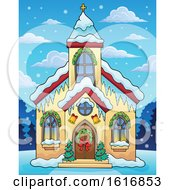 Clipart Of A Christmas Church During The Day Royalty Free Vector Illustration