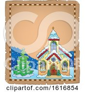 Clipart Of A Christmas Church Border Royalty Free Vector Illustration