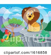 Sitting Male Lion On A Cliff