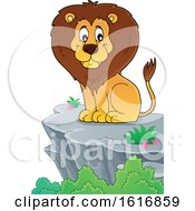 Clipart Of A Sitting Male Lion On A Cliff Royalty Free Vector Illustration