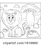 Clipart Of A Lineart Sitting Male Lion Royalty Free Vector Illustration