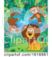 Clipart Of A Lion And Monkeys Royalty Free Vector Illustration