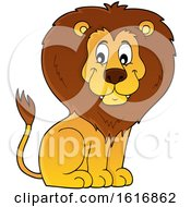 Clipart Of A Sitting Male Lion Royalty Free Vector Illustration