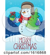 Snowman Over Merry Christmas Text