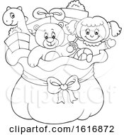 Clipart Of A Black And White Christmas Sack Of Gifts And Toys Royalty Free Vector Illustration