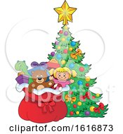 Clipart Of A Christmas Sack Of Gifts And Toys By A Tree Royalty Free Vector Illustration