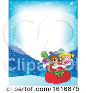 Clipart Of A Border With A Christmas Sack Of Gifts And Toys Royalty Free Vector Illustration