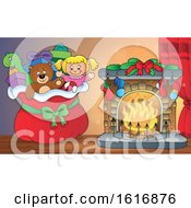 Clipart Of A Christmas Sack Of Gifts And Toys By A Fireplace Royalty Free Vector Illustration