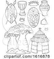 Clipart Of Black And White African Icons Royalty Free Vector Illustration