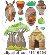 Clipart Of Tribal African Items Royalty Free Vector Illustration