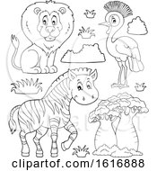 Clipart Of A Black And White Lion Zebra And Grey Crowned Crane Royalty Free Vector Illustration