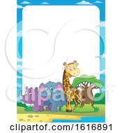 Poster, Art Print Of Border With A Giraffe Elephant And Rhinoceros