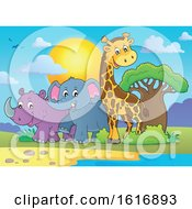 Giraffe Elephant And Rhinoceros