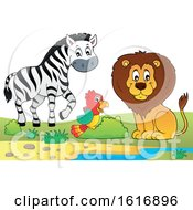 Clipart Of A Zebra Parrot And Lion Royalty Free Vector Illustration