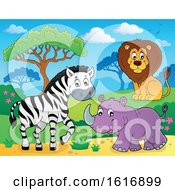 Zebra Rhino And Lion