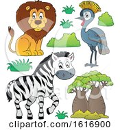 Clipart Of A Lion Zebra And Grey Crowned Crane Royalty Free Vector Illustration