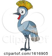 Clipart Of A Grey Crowned Crane Royalty Free Vector Illustration