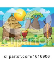 Clipart Of A Tribal African Hut Royalty Free Vector Illustration