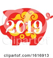 New Year 2019 Pig In Red With Yellow Flowers And Designs