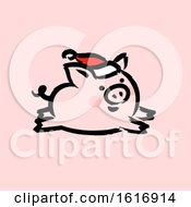 Running Christmas Pig Wearing A Santa Hat On Pink