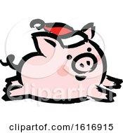 Clipart Of A Running Christmas Pig Wearing A Santa Hat Royalty Free Vector Illustration by elena
