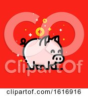 Pig With Asian Wealth Coins On Red