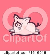 Clipart Of A Running Pig On Pink Royalty Free Vector Illustration by elena