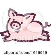 Clipart Of A Running Pig Royalty Free Vector Illustration by elena