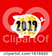 Clipart Of A New Year 2019 Pig On Red Royalty Free Vector Illustration by elena