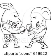 Poster, Art Print Of Boxing Donkey And Elephant