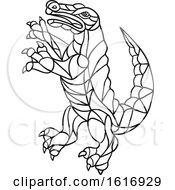 Crocodile Prancing Mosaic Black And White