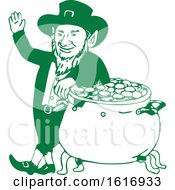 Green Leprechaun Standing By Pot Of Gold Drawing
