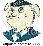 Mister Pig Monocle Drawing