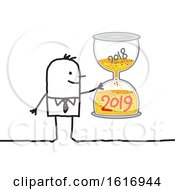 Clipart Of A Stick Business Man Holding A New Year Hourglass Royalty Free Vector Illustration